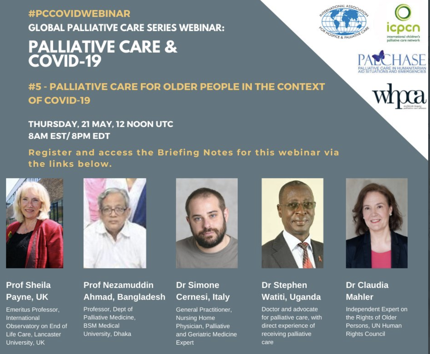 Global Palliative Care Series webinar: palliative care for older people in the context of Covid-19